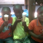 The boys enjoying ice cream